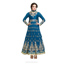 Salwar kameez Blue Colored Embroidered Faux Georgette Anarkali