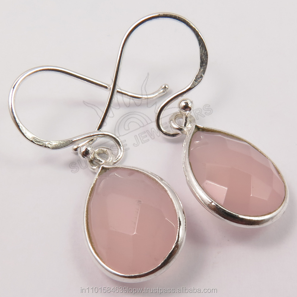Wholesale Price ! Natural PINK CHALCEDONY Pear Checker Gemstones Girl's Fashion Earrings 925 Solid Sterling Silver Jewelry