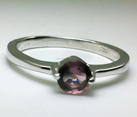 Rhodium plated silver solitaire amethyst ring jewelry for women