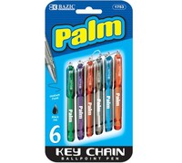 BAZIC Palm Mini Ballpoint Pen w/ Key Ring (6/Pack)