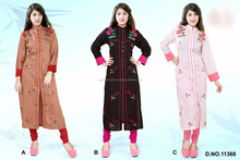 Brown & Black & Baby Pink Color Kurti With Colored Pants Designer Kurtis
