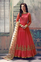 Salmon color with zari border and zari embroidery patch work designer Long Readymade Anarkali Salwar Kameez