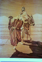 THE FLIGHT TO EGYPT WOOD INLAY MARQUETRY Signed Print Free Shipping WORLDWIDE