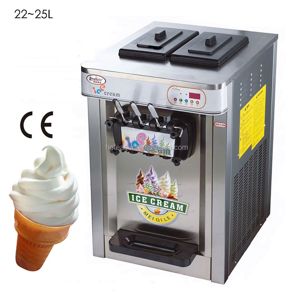 Steel Countertop 220V Electric 3 Flavor Soft Ice Cream Machine ...