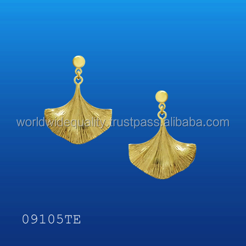 New 2016 latest gold earring designs Ginko gold leaf 14k gold jewelry wholesale