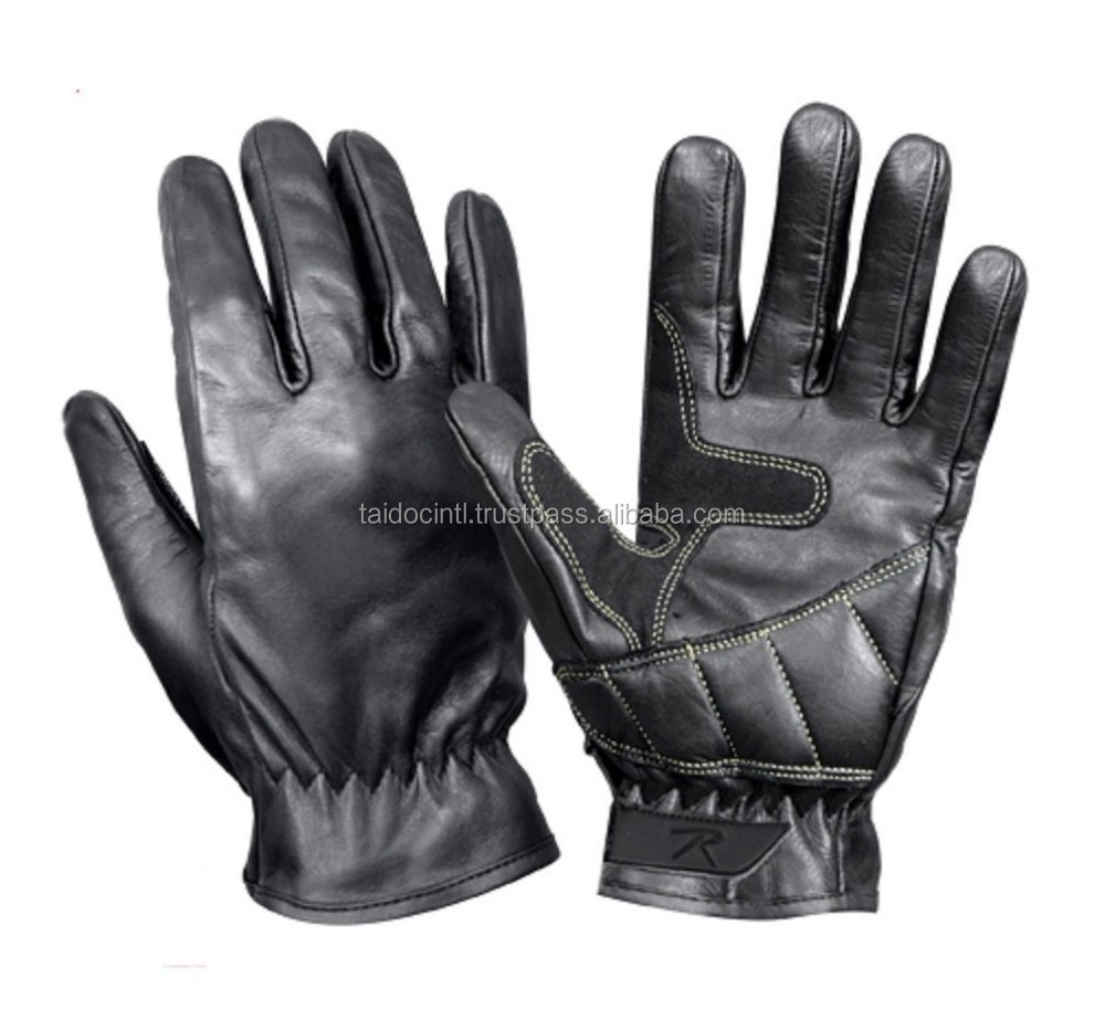 Black Leather Gloves Military Police Gun Shooting Shooter Motorcycle Riding/ Best quality by taidoc