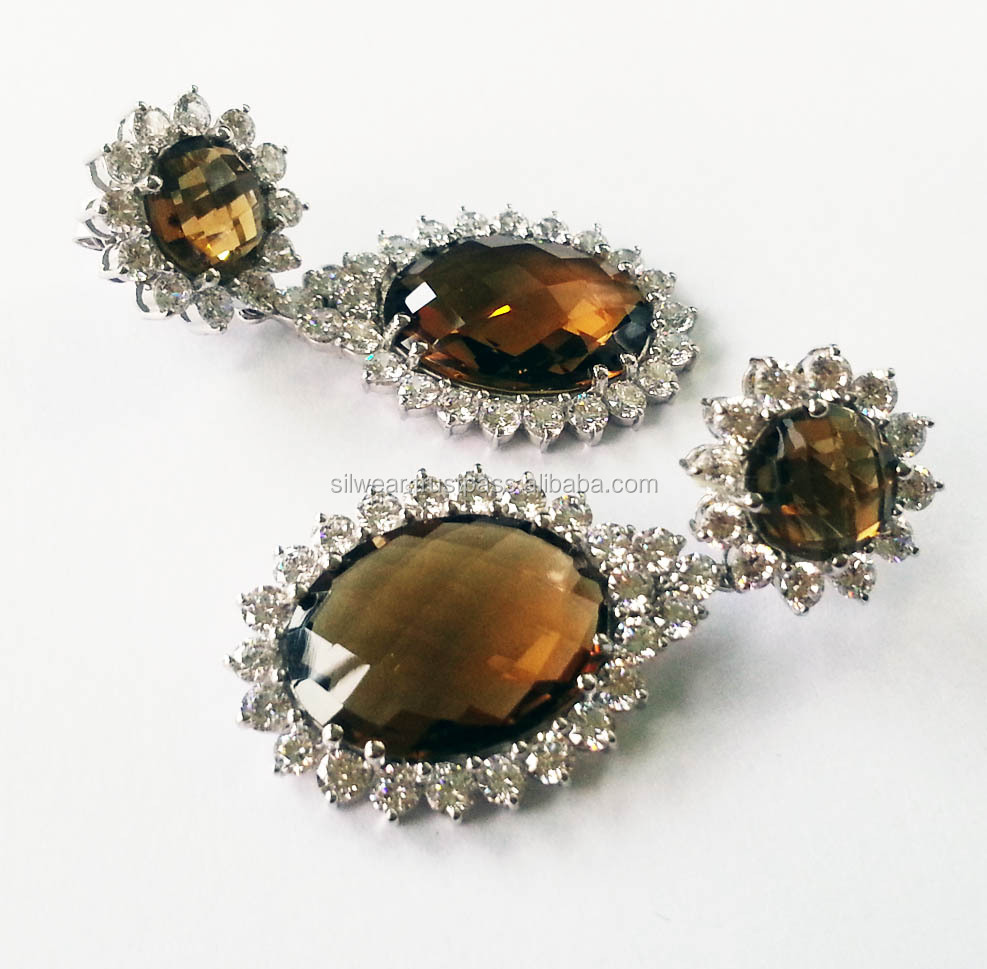 Natural Smoky Quartz Cz 925 Sterling Silver Dangler Two Tone Earrings