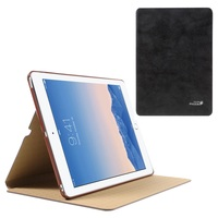 GOLDEN PHOENIX for iPad Air 2 Retro Genuine Split Leather Smart Case - Black
