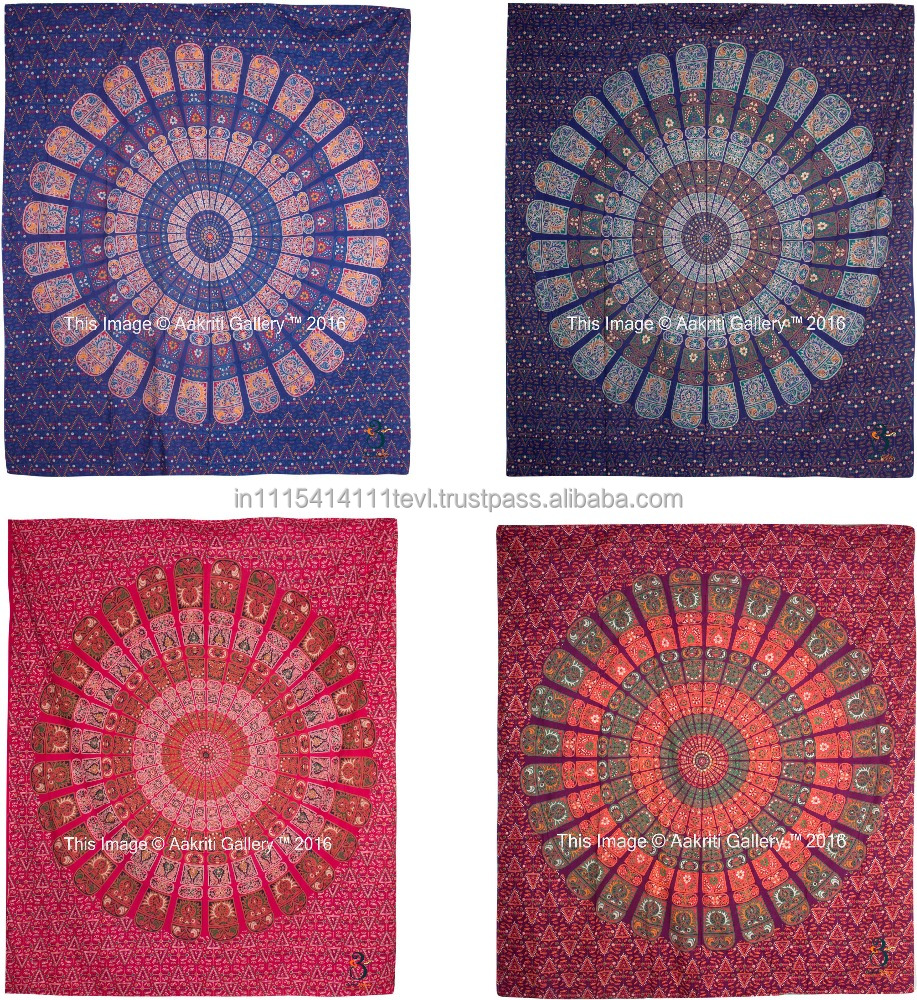 Barmeri Mandala Square Tapestry Wall Hanging Queen Cotton Printed Bedspread Bed Cover Wholesale