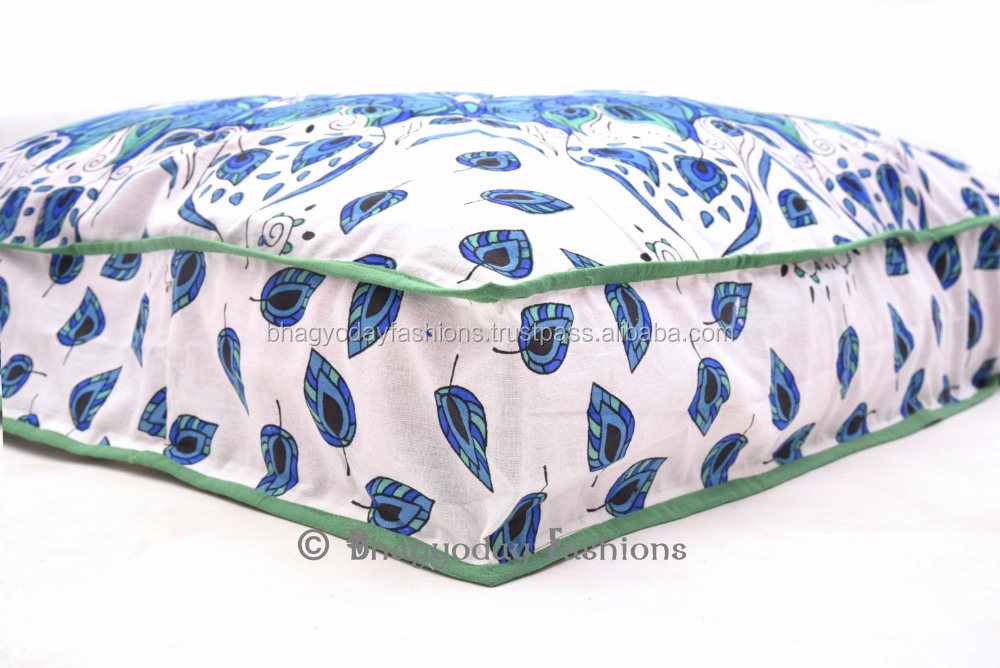 Indian Mandala Beans Bag Cotton Throw Ottoman Floor Cushion Cover Dog Bed Outdoor Pouf Pouffe