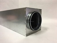 Round silencer in the rectangular casing