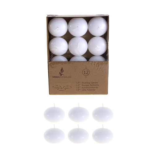 "12 pcs 1.5"" Unscented Floating Candles - White"