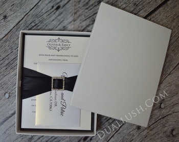 Black Silk Pocket Folio Luxury Wedding Invitation Folio Birthday Invitation