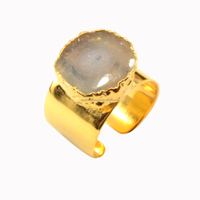 High Quality Natural Solar Quartz Stone Latest Fine Fashion Jewelry 24k Gold Plated Ring 2017 Design Wholesale India 207