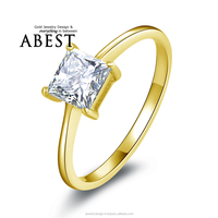 100% 10K Gold Yellow Solitaire Rings Hotting Sale Princess Sona Synthetic Simulated Diamond Engagement Wedding Ring Jewelry Ring