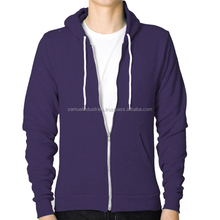Casual plain dyed blank pocket long sleeve pullover purple hoodie\custom muscle fit zipper polar fleece gym jacket hoodies men