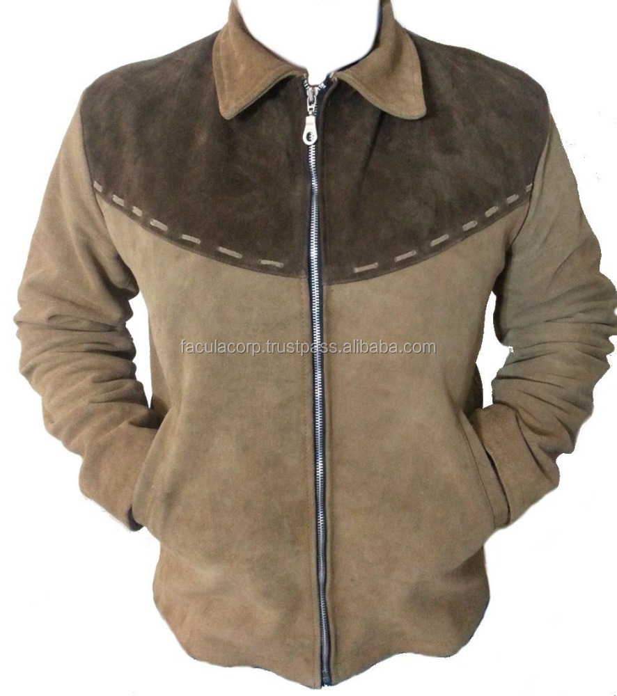 Men's Western Leather Jacket Brown with Dark Brown Patch FC-7941