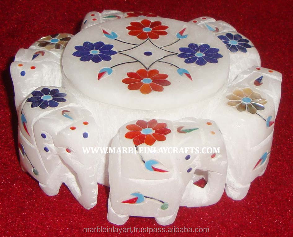 Exclusive Elephant Design White Marble With Inlay Work