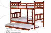 Modern Solid wooden double decker bunk bed with pull out bed DD 305