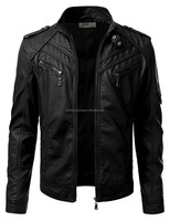Mens Leather Look Motorcycle Rider Bomber Jacket