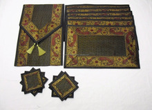 Indian Silk Table Runner with 6 Place Mats & 6 Coaster in Black Color Size 16*62