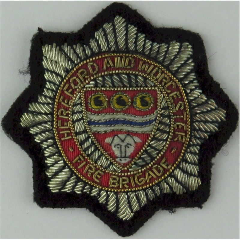 Hereford And Worcester Fire Brigade Senior Officer's Cap Badge Bullion wire-embroidered Fire and Rescue