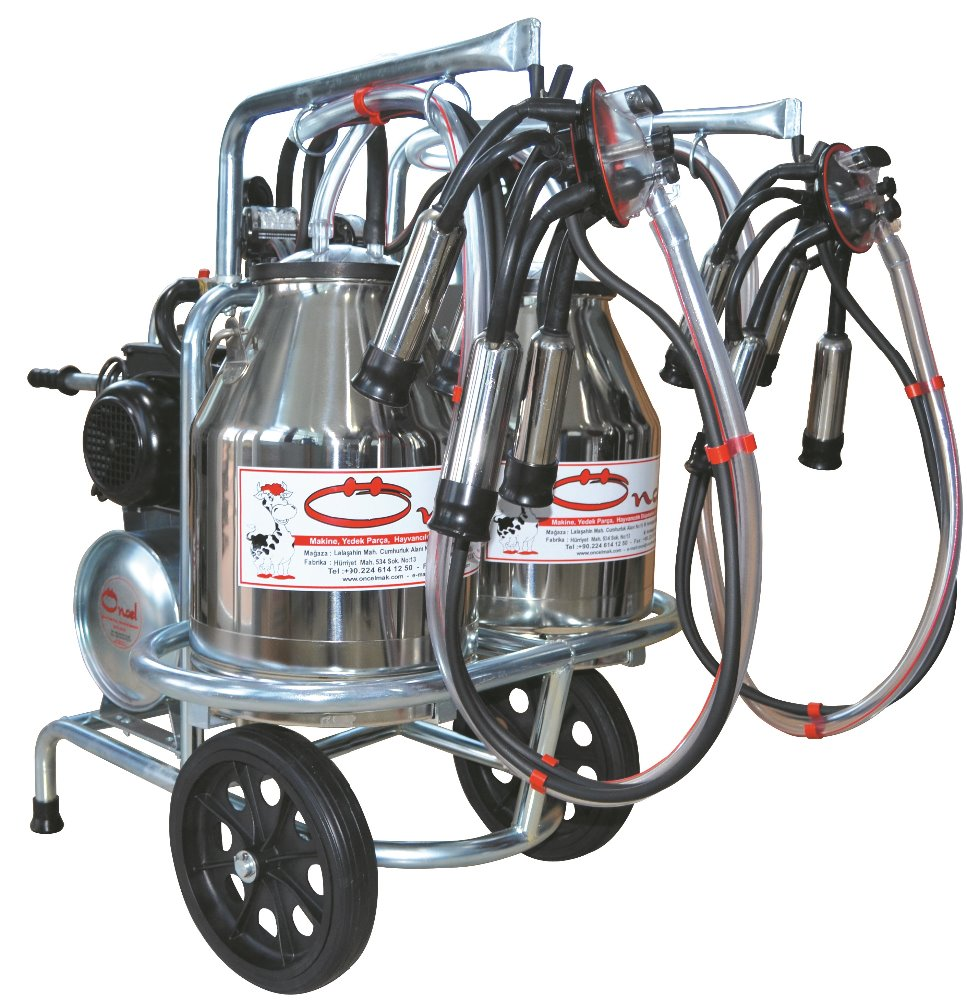 MILKING MACHINE-FOR COW MILKING-PORTABLE-DOUBLE MILKING UNITS-DOUBLE SS BUCKET-OC.1009