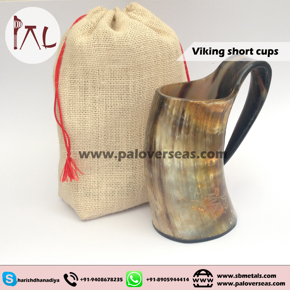 Unique Handcrafted Medium Ox Horn Tankard - Viking drinking horn with burlap sack