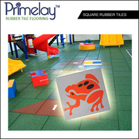 Beautiful Patterned Rubber Tiles For Children Room / Playground (Square Shape)