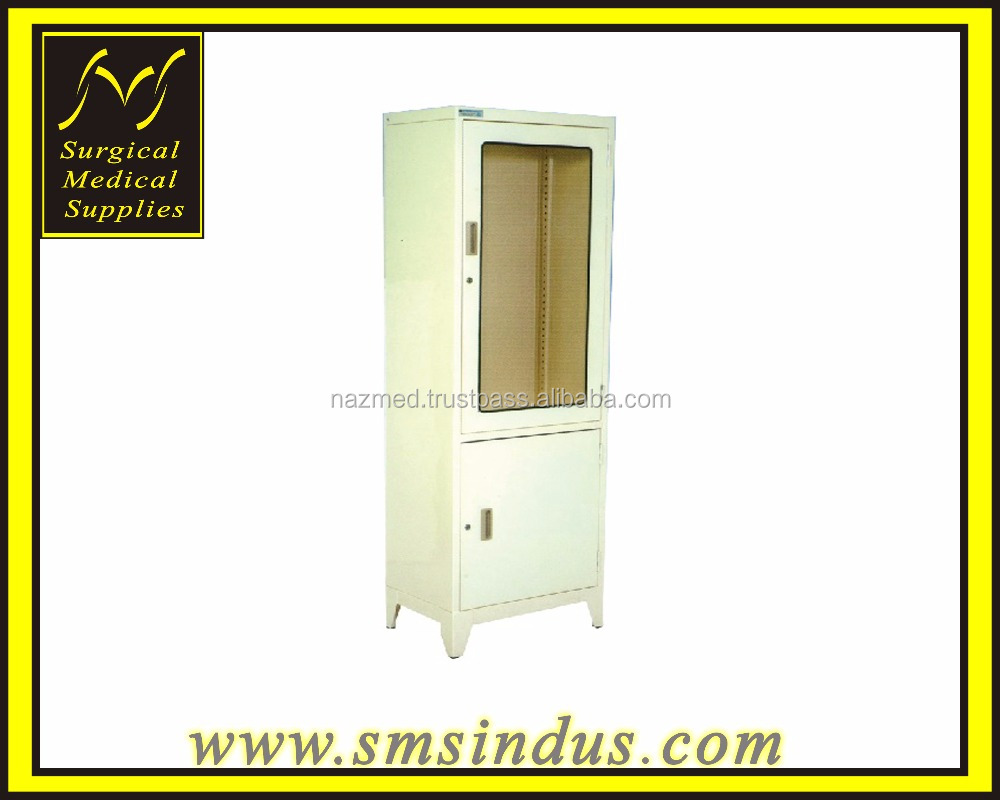 Cabinet Instrument Free Standing 2 Section Glass Door and Metal Door Lockable