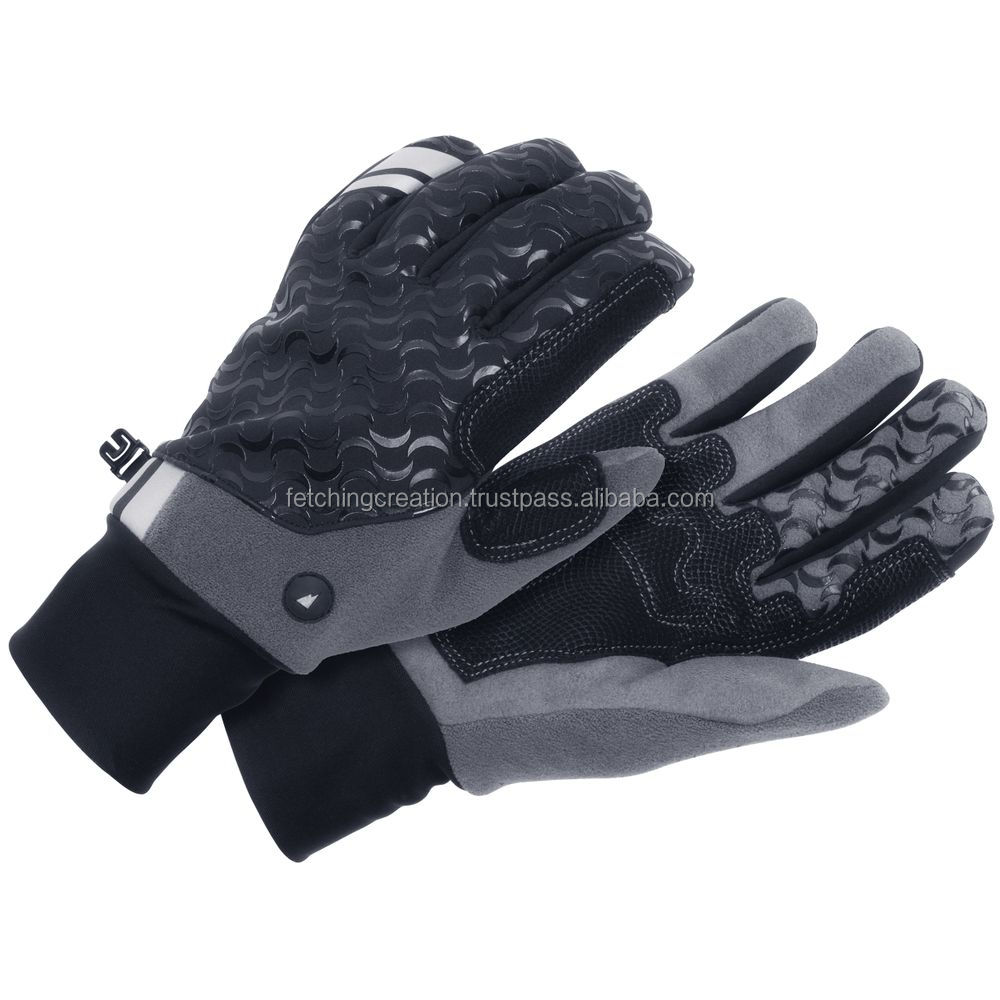 gray and black colored motorbike leather working gloves