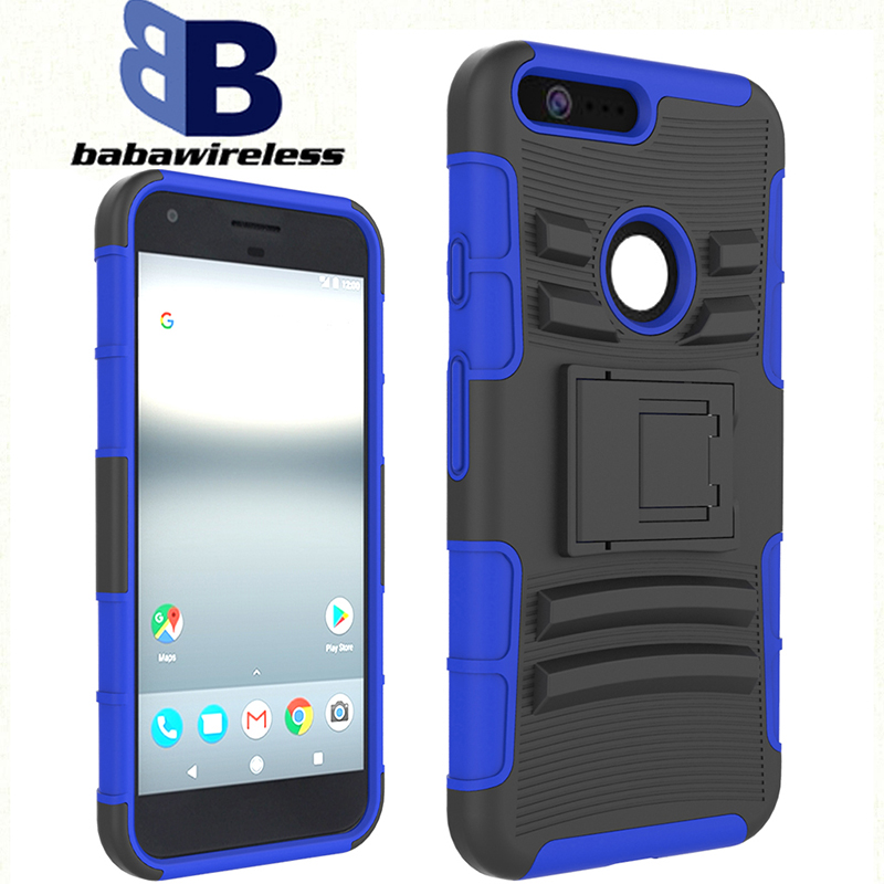 Soft Robot bracket slide sleeve OEM logo 3in1 fuction protective phone case For Google Pixel XL holster