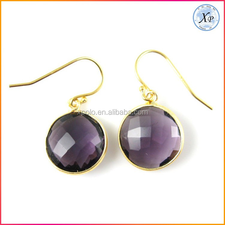 Fashion Gold Crystal Quartz Earrings Jewelry
