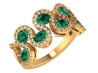 Beautiful Simulated Emerald Promise Engagement Gold Ring 14k Yellow gold Diamond Ring Gemstone Ring for Party Wear