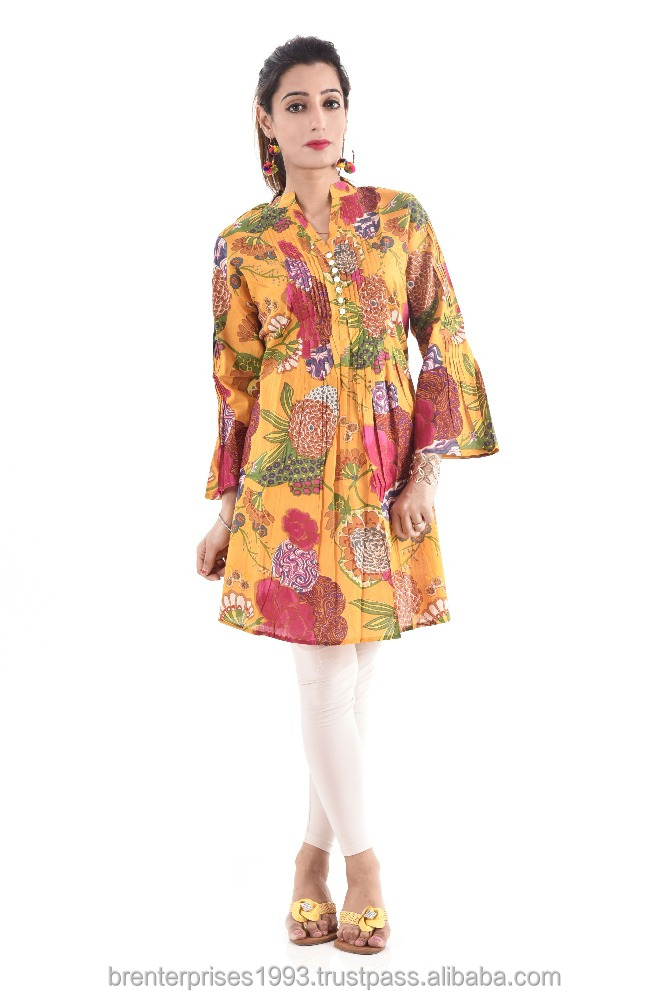 2016 latest indian handmade 100% cotton printed wholesale casual women dress