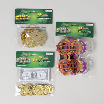 PARTY FAVOR MONEY THEME 3AST $ GLASSES/COINS W/BILLS/NECKLACE #G24828
