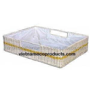 Bamboo and Rattan rectangle Tray Baskets with plastic liner