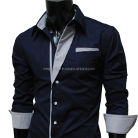 Man Double High Collar Fashion Latest Design Black Dress Shirts for Man