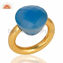 Manufacture of Gold Plated Faceted Blue Chalcedony Gemstone Sterling Silver Ring Jewelry