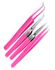 Pink Tweezer Set I, F, Curved & X Type for Eyelash Extensions