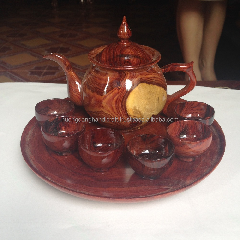 Wooden tea set made in Vietnam, high quality tea cup, tea pot and service plate