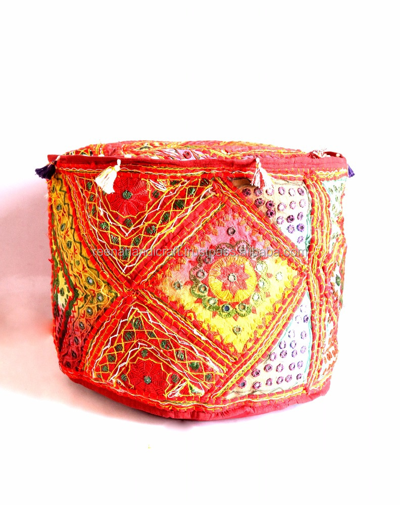 Handmade Ottoman Cover Round Vintage Indian Embroidery Pouf Cover Footstool
