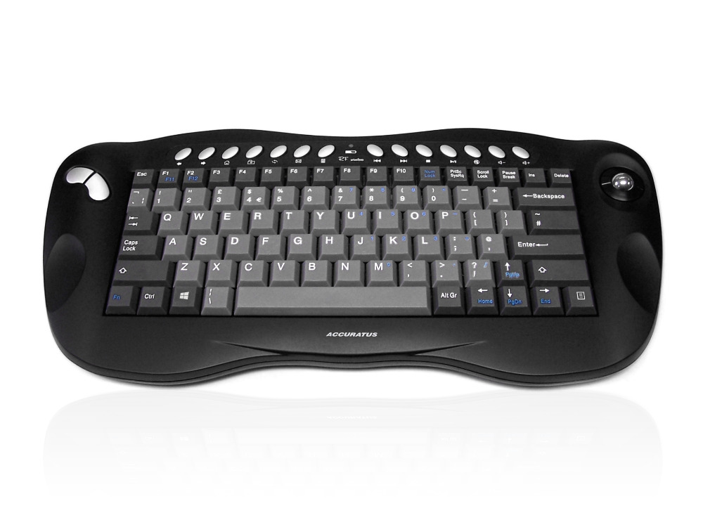 Accuratus Toughball 2 - Wireless 2.4GHz Multimedia Mini Keyboard with Trackball