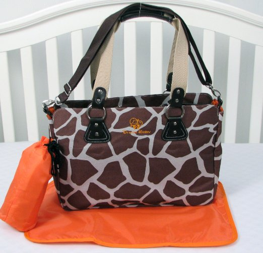 Giraffe Diaper Bag 3 in 1 with changing pad & Bottle case (Brown)
