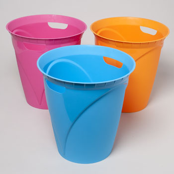 WASTE BASKET WITH HANDLES 12.4X13 4 COLORS #41759