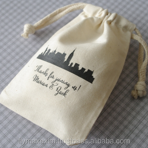 cute cotton drawstring bag/ small mini cotton muslin bag