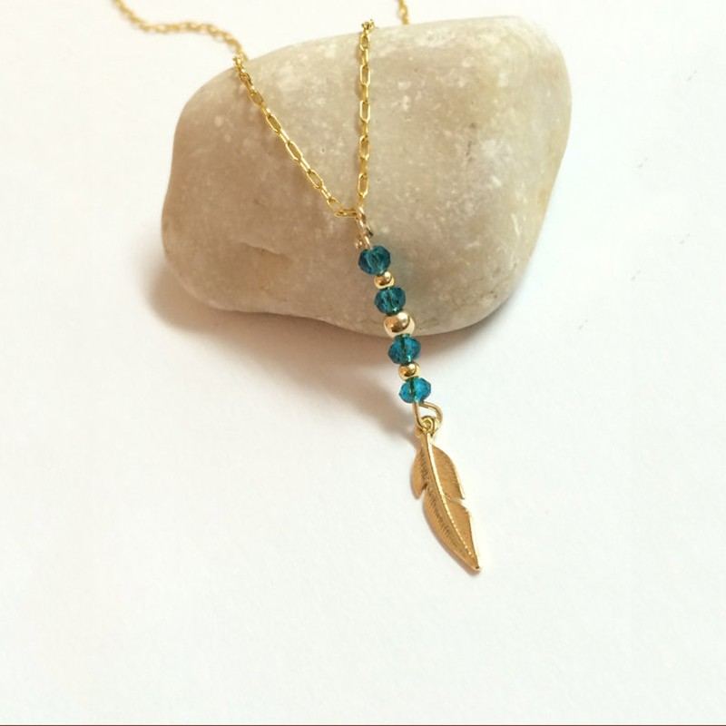 Latest Design 18k Gold Plated Beaded Feather Necklace
