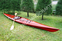 HANDMADE WOODEN REAL KAYAK 17' - 1 PERSON PAINTED