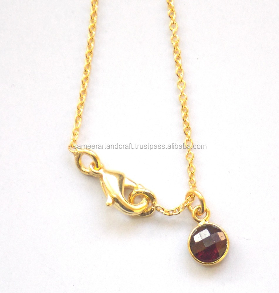 Natural Carnelian Chain 6 mm Round Shape Gold Plated Necklace Set