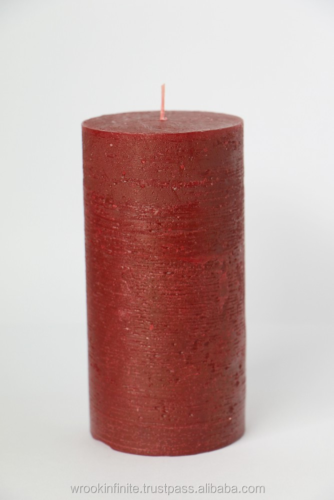 Rustic Red Pillar Candle